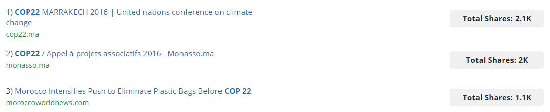 Top articles COP22 Juin